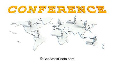 conferentie, concept, met, handel team