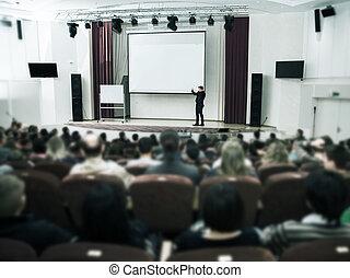 conferentie, hall., zakelijk, publiek, presentation., spreker
