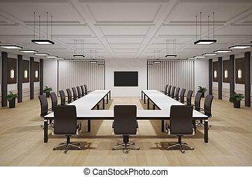 conferentie, interieur, kamer, 3d
