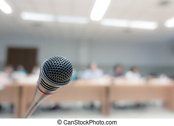 conferentie, microfoon, kamer, effect., ouderwetse , beeld...