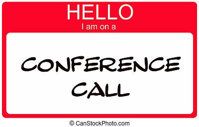 conferentie, noem etiket, roepen, hallo, rood