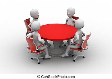 conferentie, persoon, 3d, tafel