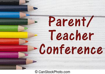 conferentie, potlood, crayons, parent-teacher, tekst