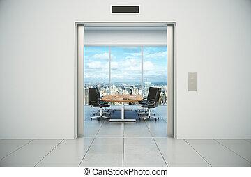 conferentie, stad, kamer, appeared, elevator deuren, ...