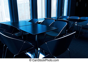 conferentie, toned, moderne, blauwe , kamer