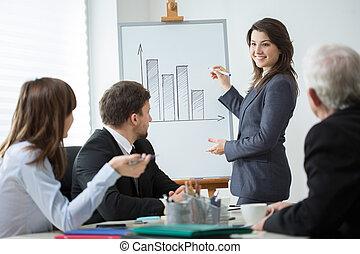 conferentie, toonaangevend, vrouw zaak