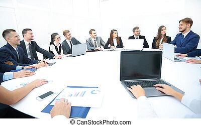 conferentie, zakenlui, belangrijk, discussiëren, kwesties