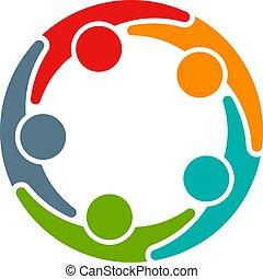 conferentie, zakenlui, entrepreneurs, vijf, circle.