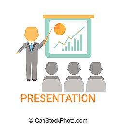 conferenza, addestramento, finanza, presentazione affari, esposizione, grafico, grafico, buffetto, riunione, uomo