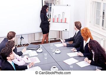 conferenza, addestramento, presentazione, squadra affari