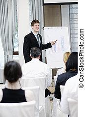 conferenza, affari, dare, giovane, presentazione, uomo