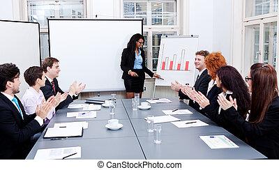 conferenza affari, presentazione, con, squadra, addestramento