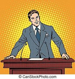 conferenza, altoparlante, podium., presentazione