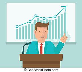 conferenza, appartamento, stile, concetto, affari, vettore