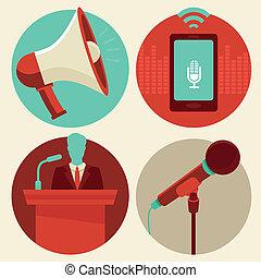 conferenza, appartamento, stile, vettore, icone