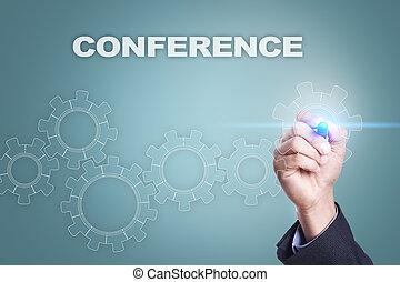 conferenza, concetto, schermo, virtuale, uomo affari, disegno