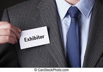 conferenza, fissaggio, etichetta, nome, uomo affari