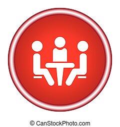 conferenza, icon., persone, tavola., seduta