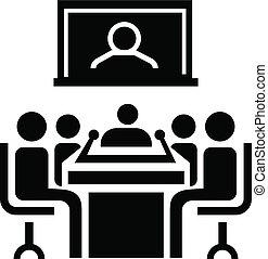 conferenza, icona, stile, video, semplice