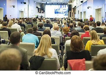conferenza, ideas., concetto, gruppo, persone affari, schermo grande, osservare, grande, presentazione