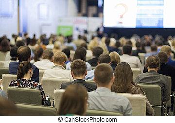 conferenza, ideas., loro, concetto, gruppo, persone affari, schermo, osservare, tabelle, grande, fronte, presentazione