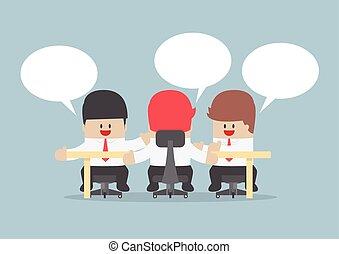 conferenza, raggruppare insieme, brainstorming, uomini affari, tavola