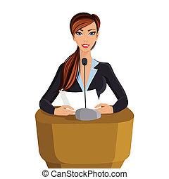conferenza, ritratto, donna