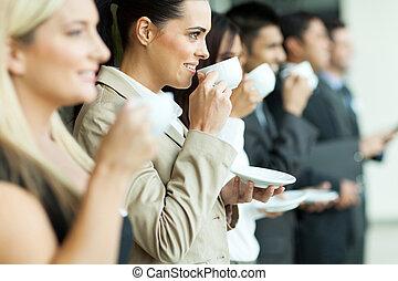 conferenza, rottura, caffè, affari