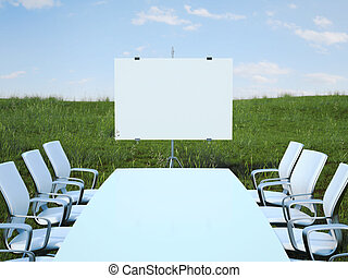 conferenza, sedie, field., interpretazione, tavola verde, 3d