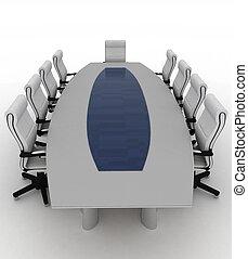 conferenza, sedie, ufficio., moderno, tavola, vuoto