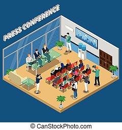 conferenza stampa, isometrico, composizione