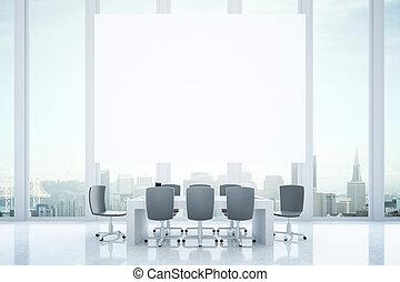 conferenza, tabellone, stanza
