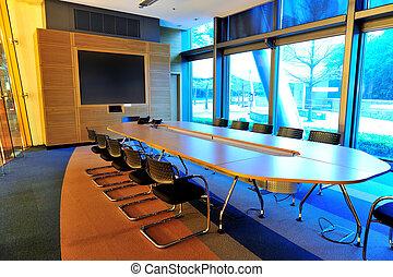 conferenza, ufficio vuoto, stanza