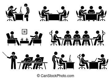 conferenza, uomo affari, discussion., riunione affari