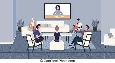 conferenza, web, colleghi, concetto, gruppo, ufficio affari,...