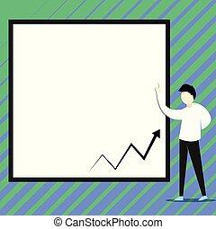 conferenziere, diagram., studente, grande, professore, descrivere, giovane, zigzag, grafico, presentare, freccia, assistente, board., linea, presentazione, bianco, presente, uomo