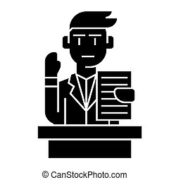 conferenziere, illustrazione, altoparlante, -, isolato, segno, vettore, discorso, fondo, icona, professionale, nero