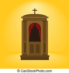 Cartoon illustration of a wooden confession booth