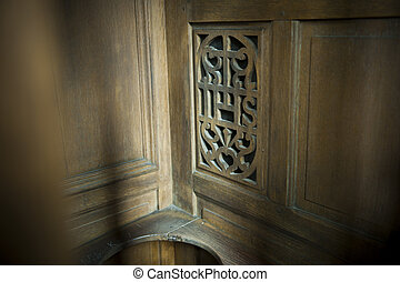 Confession booth in a church