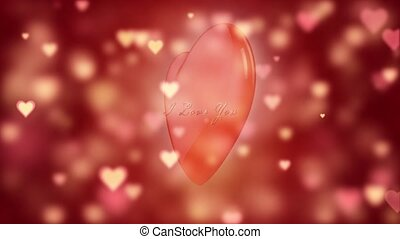 Confession in love. Glamor Valentine's card. Romantic background with shiny hearts. The big red heart is spinning. 3D animation.