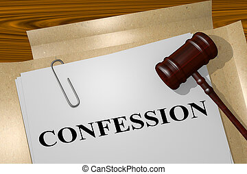 3D illustration of CONFESSION title on legal document