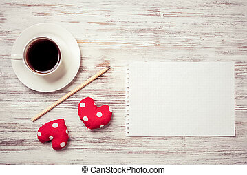 Confession on Valentines day - Coffee cup notepad pencil and...