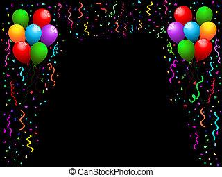 confeti, globos
