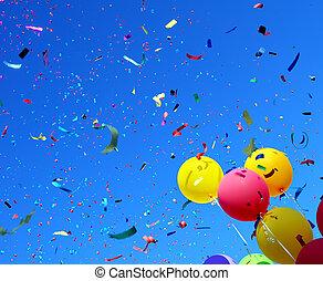 confeti, globos, multicolor