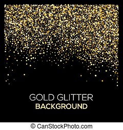 confeti, granoso, confetti., resumen, negro, oro, resplandor...