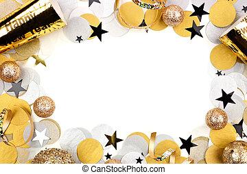 confeti, nuevo, eva, aislado, blanco, marco, decoración, ...