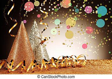confeti, sombreros, flámulas, carnaval, efecto
