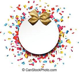 confetti., 紙カード, 贈り物, 白