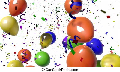 1080 HD video of multi-colored balloons and confetti falling from above over a white background. Includes alpha matte! (16:9)