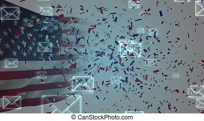 Animation of confetti, envelopes moving over American flag waving in the background. Postal voting elections in Covid 19 pandemic concept digitally generated image.